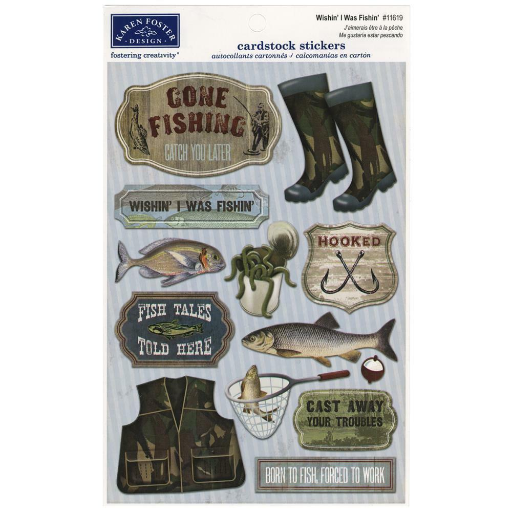Scrapbooking crafts karen foster stickers gone fishing for Free fishing stickers
