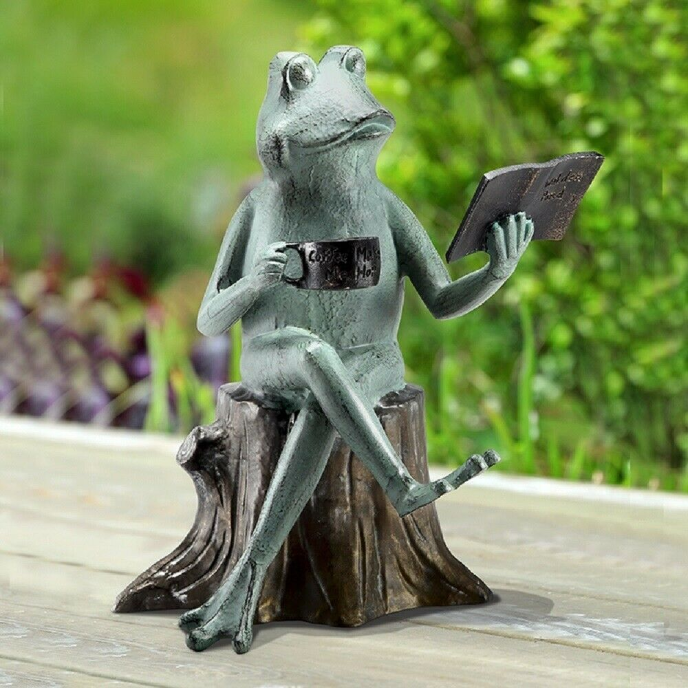 Joy Of Reading Frog On Tree Stump Metal Garden Sculpture Statue Walden Pond  | EBay