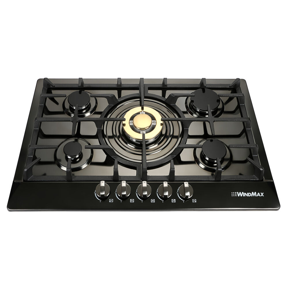 "5 Burner Gas Cooktops: 30"" Black Stainless Steel Gold Burner 5 Stoves NG Natural"