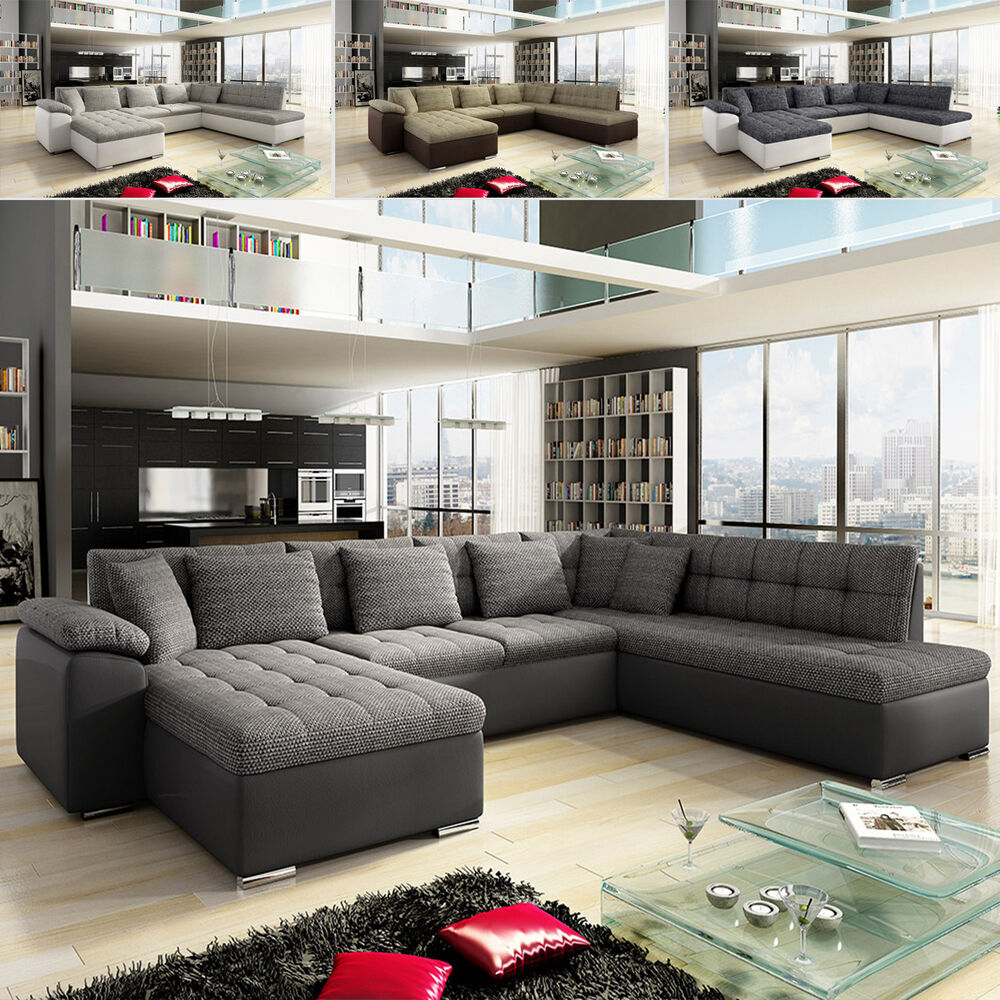 ecksofa niclas mit schlaffunktion eckcouch sofa couchgarnitur wohnlandschaft ebay. Black Bedroom Furniture Sets. Home Design Ideas