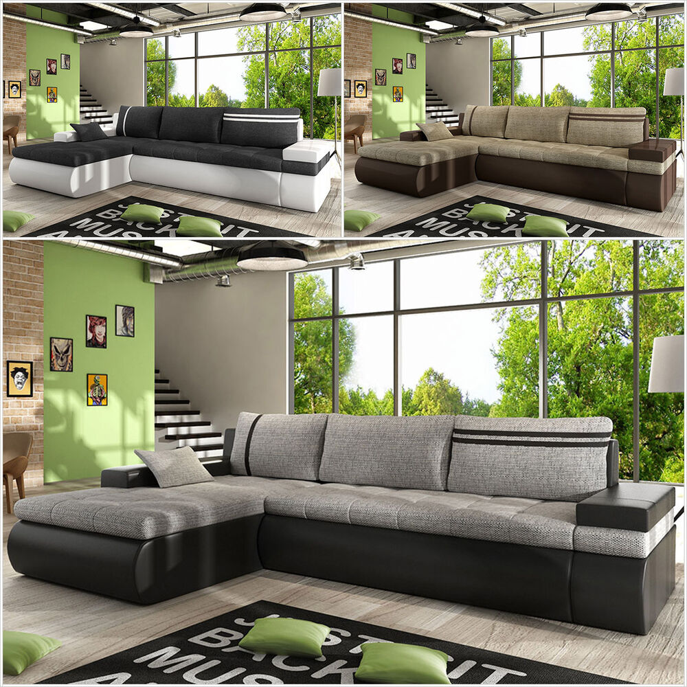 ecksofa otto modern sofa mit schlaffunktion und bettkasten eckcouch couch design ebay. Black Bedroom Furniture Sets. Home Design Ideas