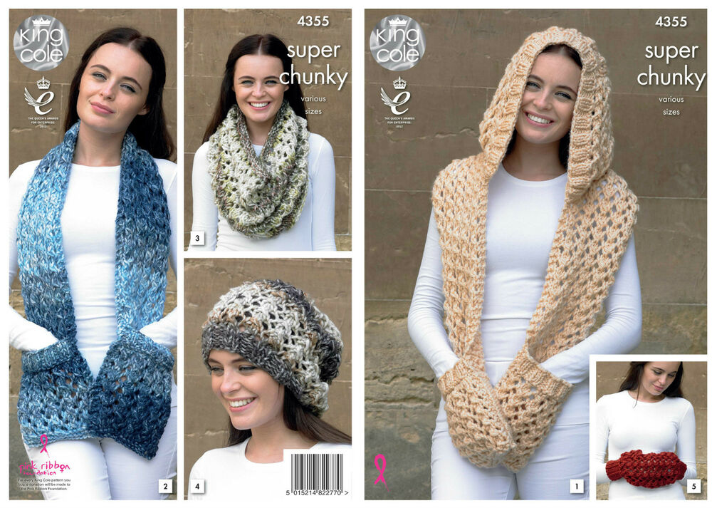 King Cole 4355 Knitting Pattern Scarf and Hat in Big Value Super ...