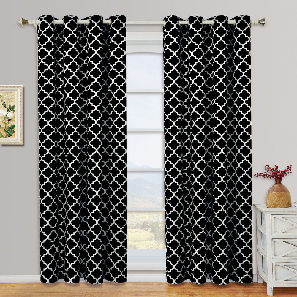 Black Meridian Room Darkening Grommet Window Curtain Drapes Set Of 2 Panels Ebay