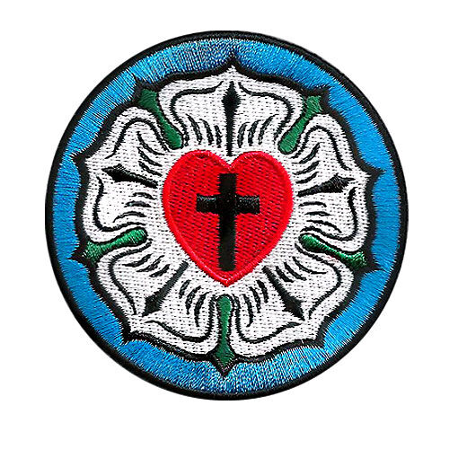 vegasbee luther rose lutheran church symbol christian cross embroidered patch ebay. Black Bedroom Furniture Sets. Home Design Ideas