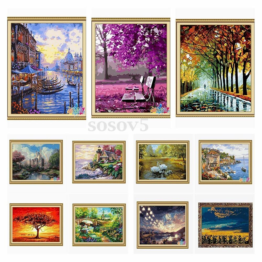 12 Diy Painting Ideas That Will Help You To Upgrade The: New DIY Paint By Number 16''*20'' Kit Forest Painting On
