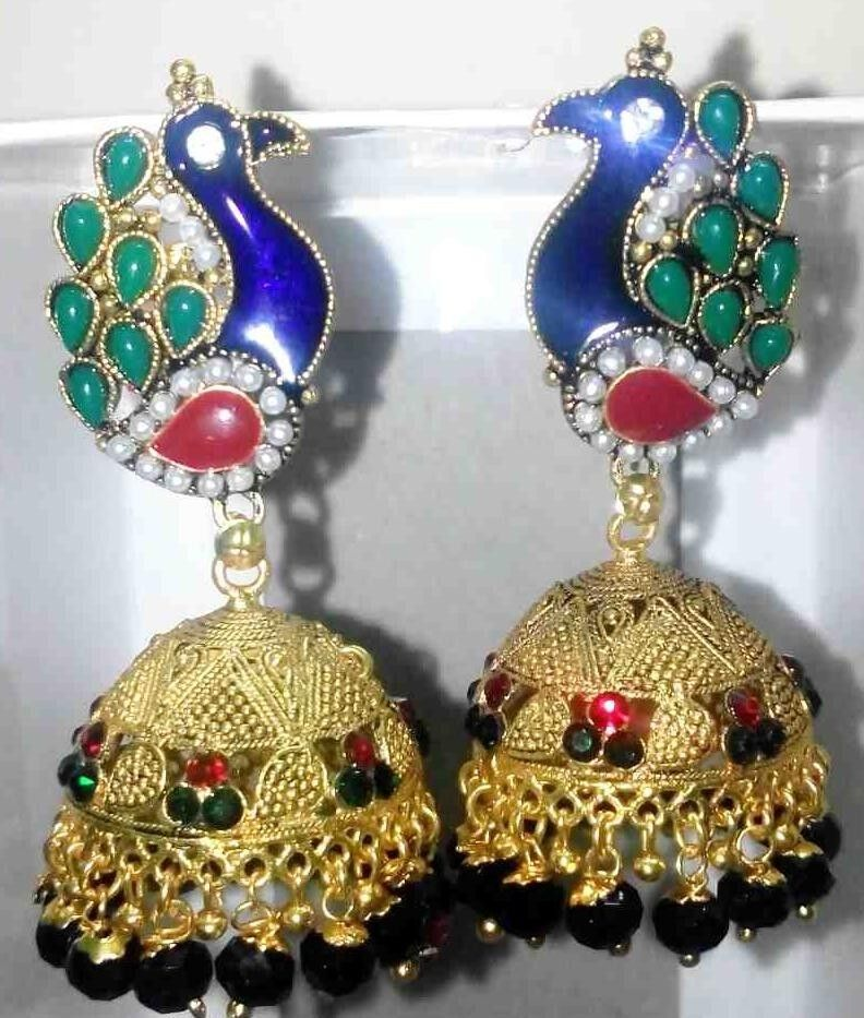 24k Gold Plated Traditional South Indian Earrings Jhumka ...
