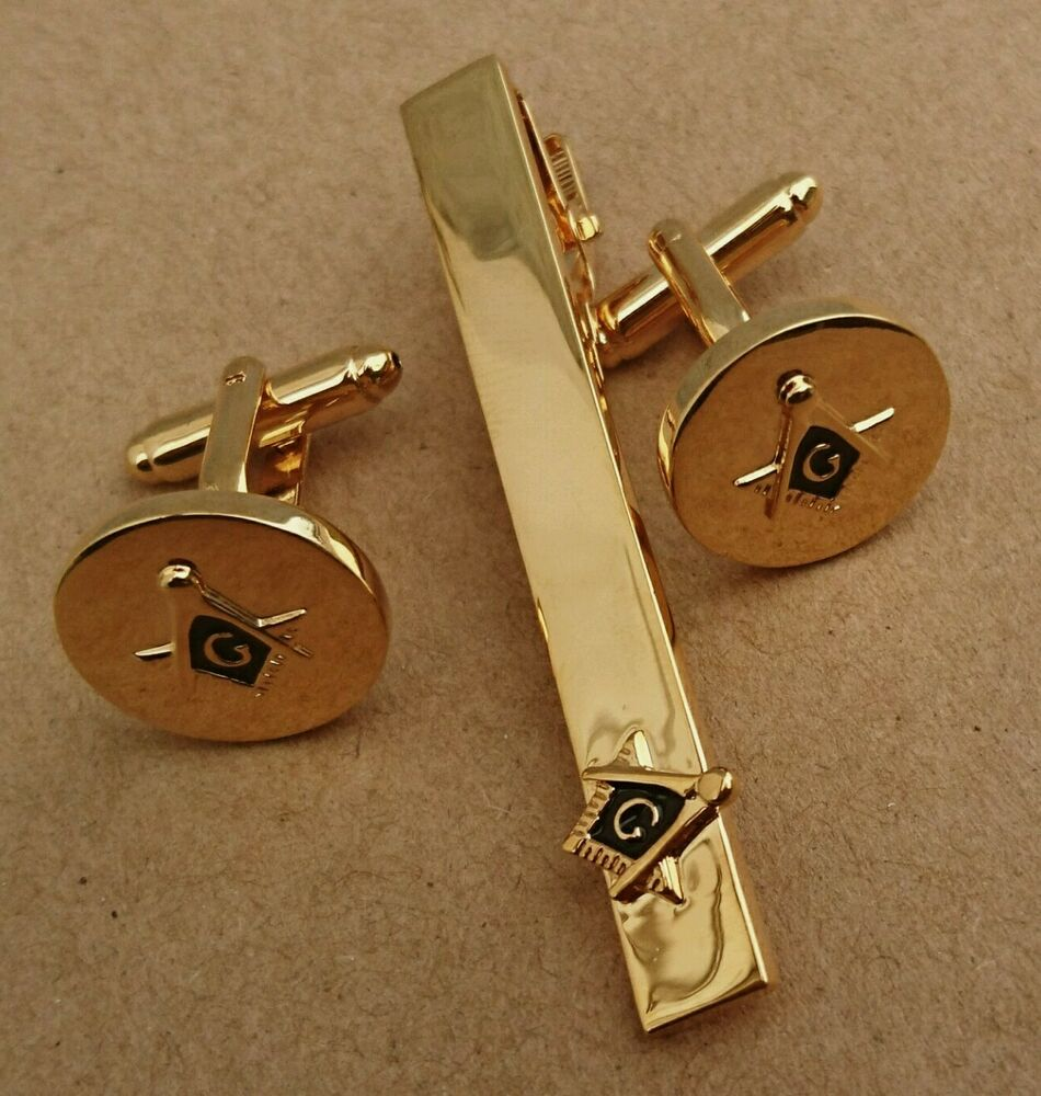 quality masonic cuff links tie clip set gold plated gold