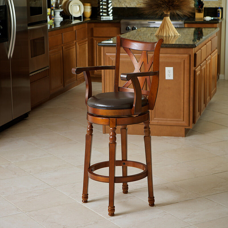 Luxury Cherry Finish 360 Swivel Leather Seat Bar Stool W