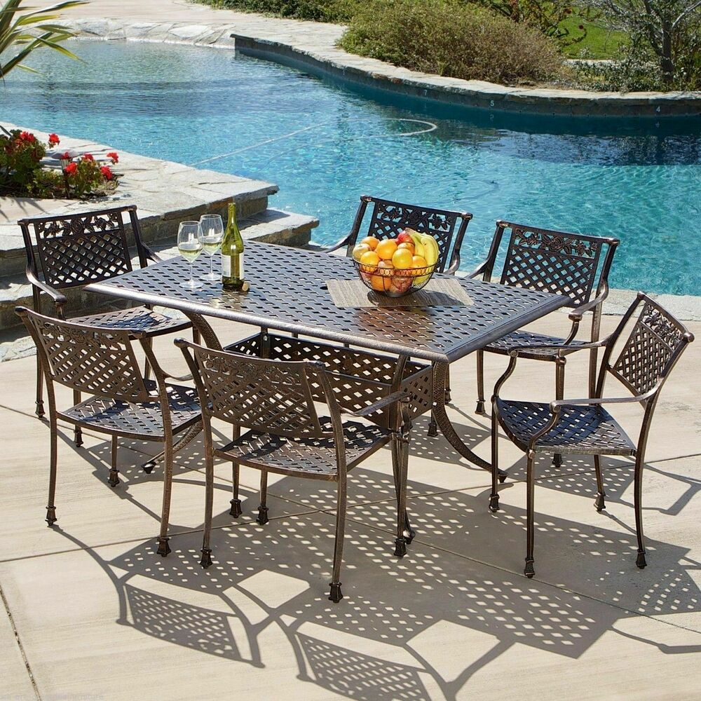 7pcs Outdoor Patio Furniture Cast Aluminum Dining Set In Antique