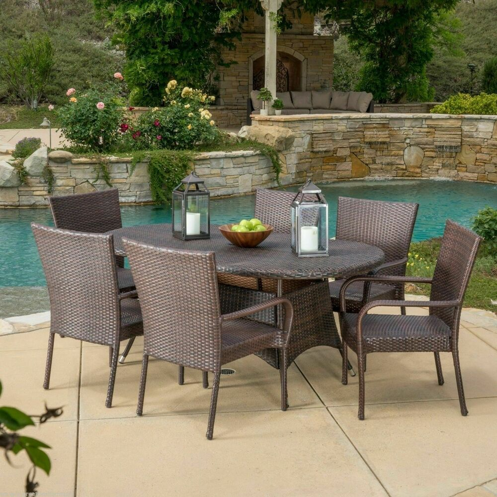 Outdoor patio furniture 7pc multibrown all weather wicker for Outdoor patio dining