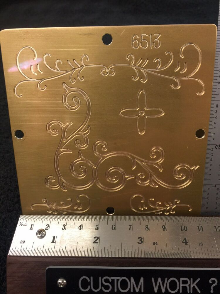 MULTI- DIRECTION SCROLLWORK SOLID BRASS ENGRAVING PLATE FOR NEW HERMES FONT TRAY | eBay