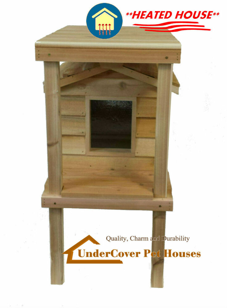 Heated insulated cedar outdoor cat house feral shelter with platform
