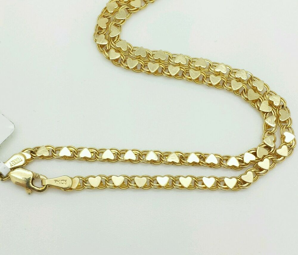14k solid yellow gold heart link anklet chain 10quot 29mm
