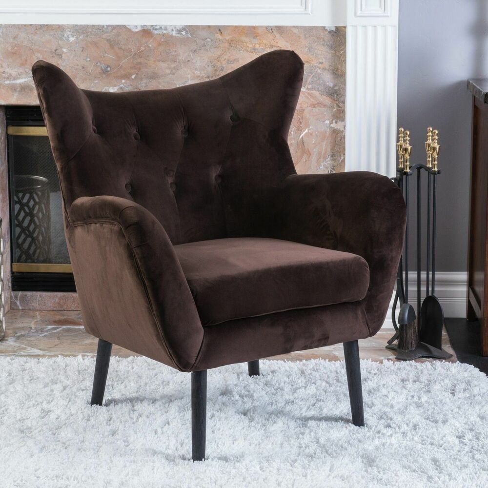 Transitional Brown Velvet Arm Chair Ebay