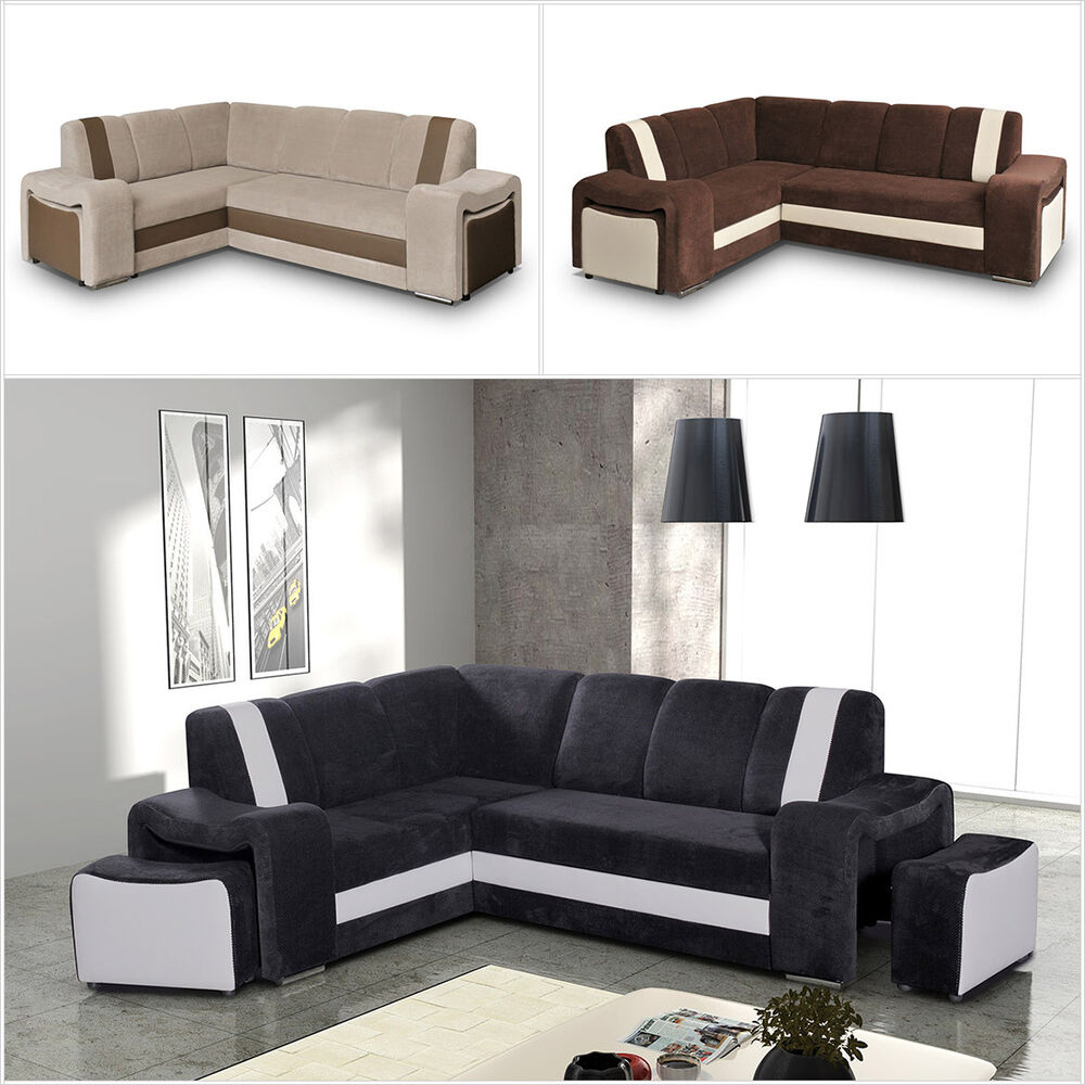 eckcouch armando mit hocker mit schlaffunktion und bettkasten farbauswahl modern ebay. Black Bedroom Furniture Sets. Home Design Ideas