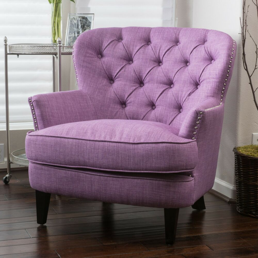 Traditional Light Purple Tufted Fabric Club Chair EBay