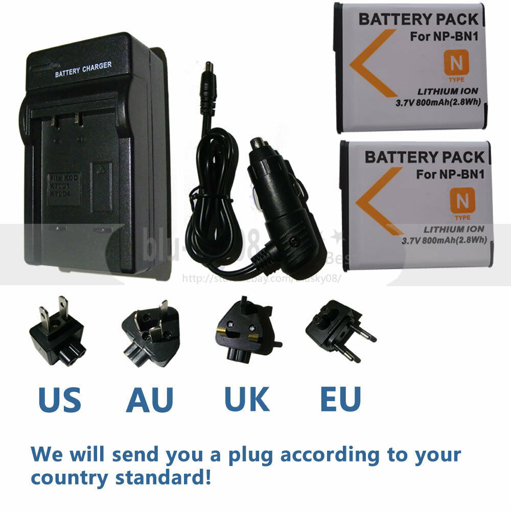 Battery 2 Pack Charger For Sony Cyber Shot Dsc W800