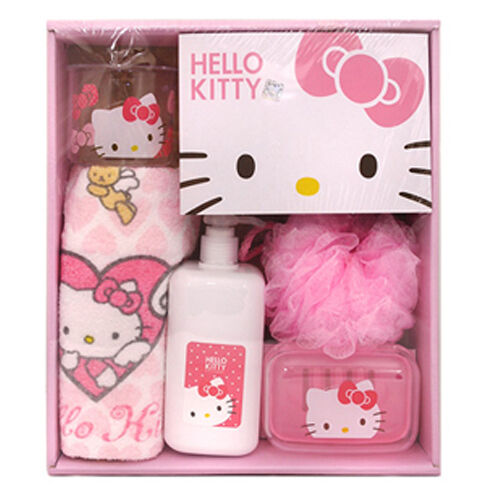 hello kitty bath set kit shower ball cup empty bottle towel soap case pink cute ebay. Black Bedroom Furniture Sets. Home Design Ideas