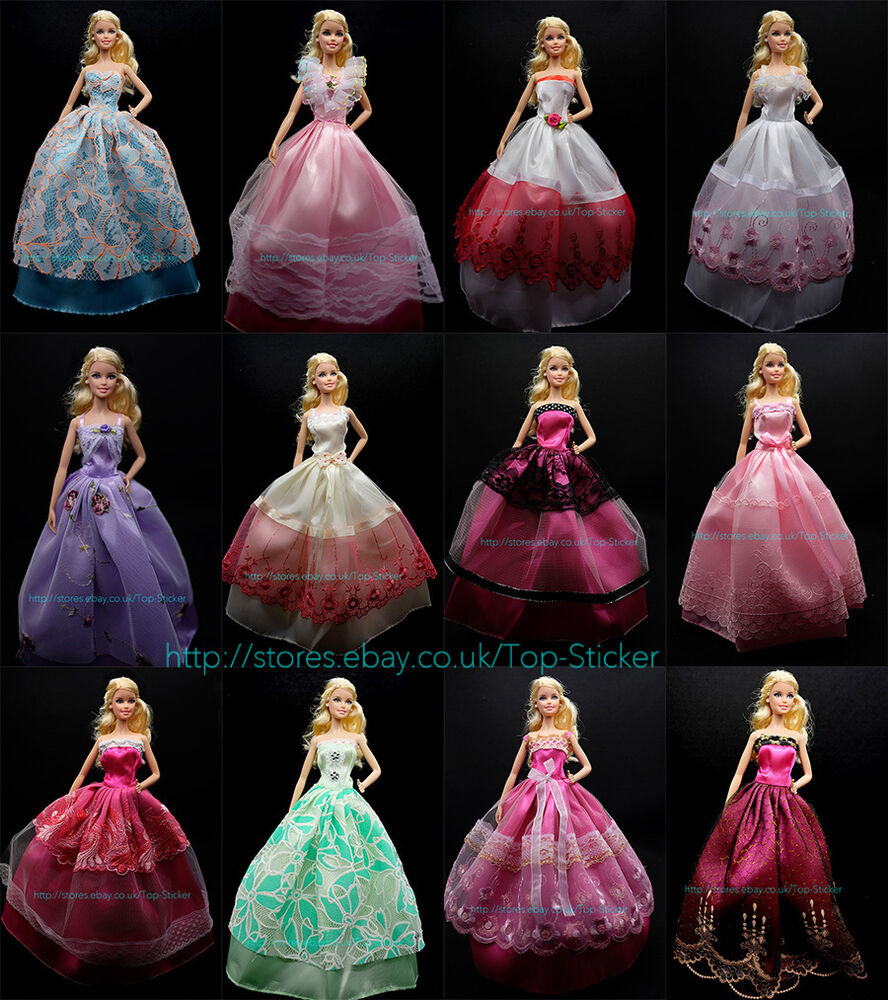 Disney Princess Doll Clothes: 5pcsRANDOM Cute Party Dress Wedding Clothes Gown For