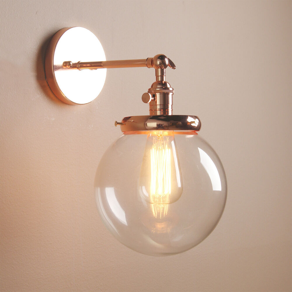 Vintage Industrial Wall Lamp Antique Sconce Globe Glass