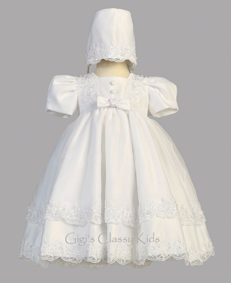 New baby girls white satin organza dress gown christening for Making baptism dress from wedding gown