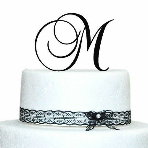 wedding cake topper monogram initials black laser cut monogram letter initial wedding favor 26358