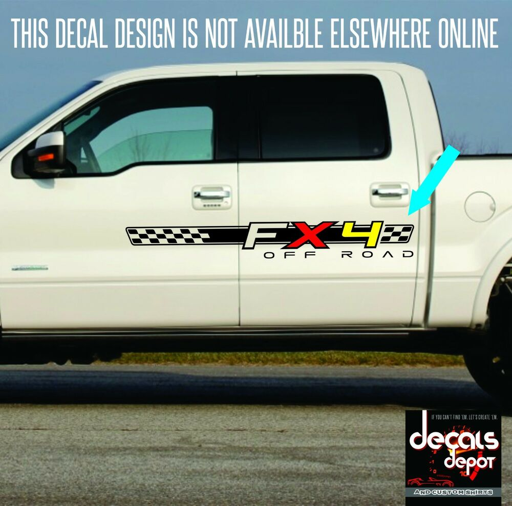 4x4 fx4 truck bed decals silver set for ford f 150 and. Black Bedroom Furniture Sets. Home Design Ideas