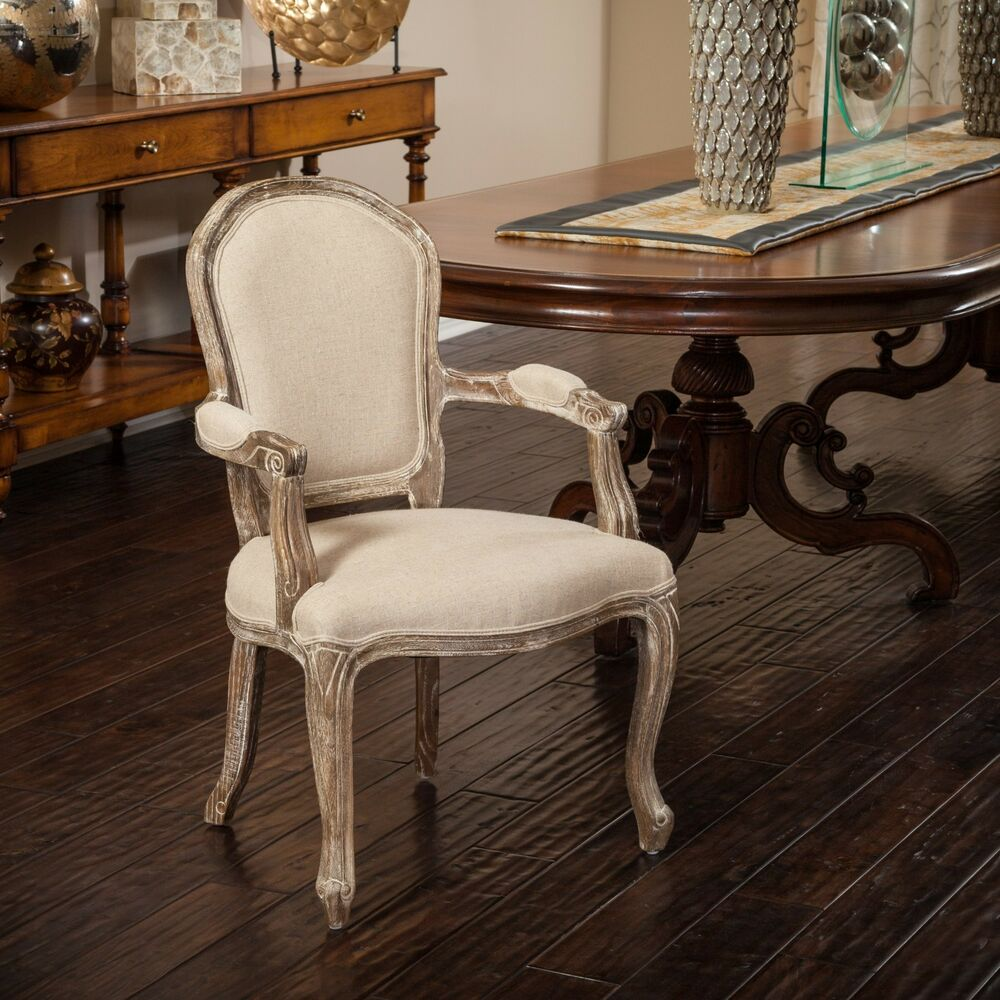 Set Of 2 Antique Wooden Dining Chairs Padded Seat Rattan: French Vintage Design Linen Upholstered Weathered Oak
