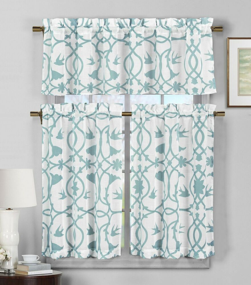 3 piece semi sheer window curtain set teal blue and white for 3 window curtain design