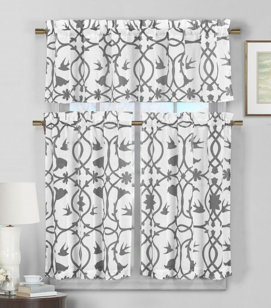 3 Piece Semi Sheer Window Curtain Set Gray And White