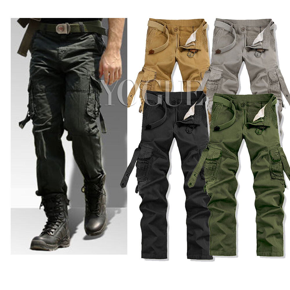 casual mens military army cargo pants combat work