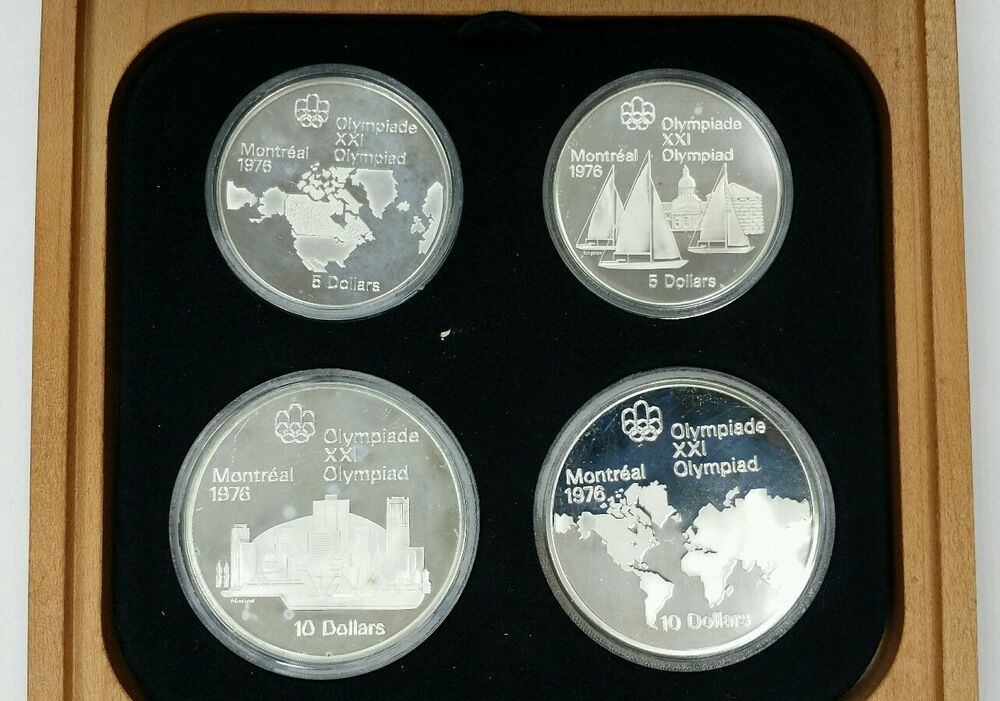 1976 Canada 5 Amp 10 Olympic 4 Coin Commemorative Proof