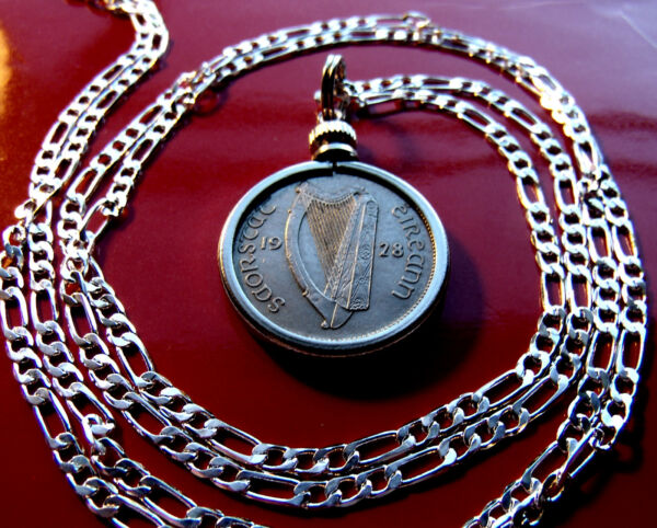 Rare Handsome 1928 Irish Lucky Sixpence Pendant on a 30