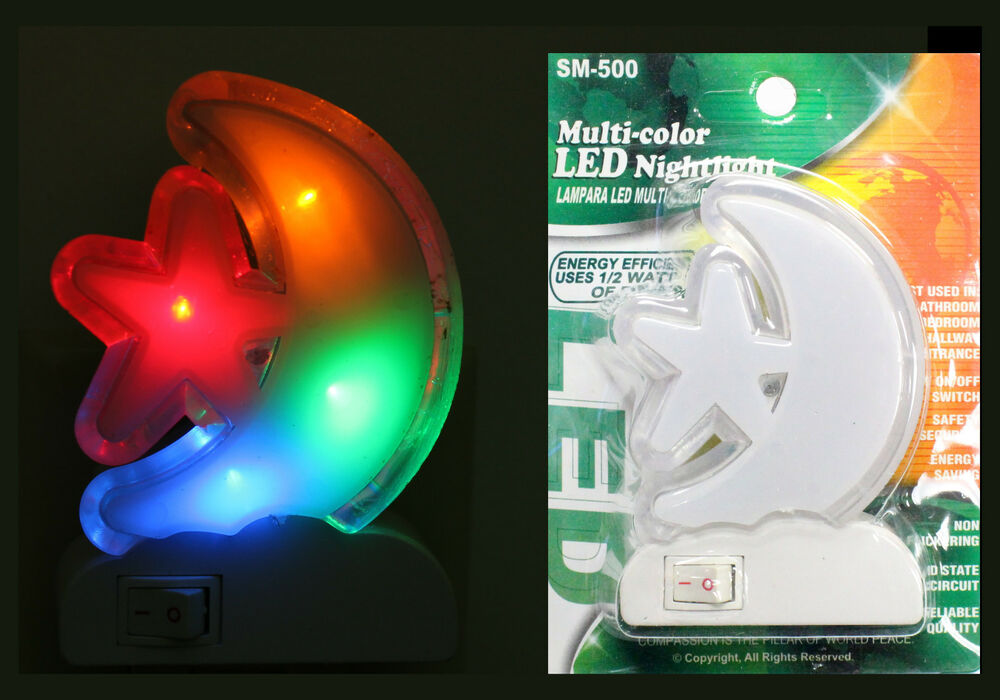 Multi Color Night Light Led Lamp Plug In Wall Star Moon