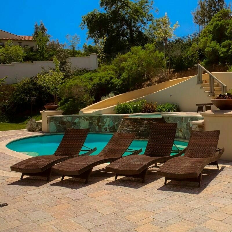 Set Of 4 Luxury Outdoor Patio Furniture PE Wicker Chaise Lounge Chairs EBay