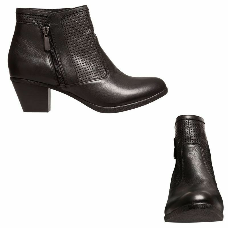 ec0eed2a20cf Details about WOMENS HUSH PUPPIES GINNY BLACK LEATHER BOOTS SHOES WITH ZIP THICK  HEELS HEEL