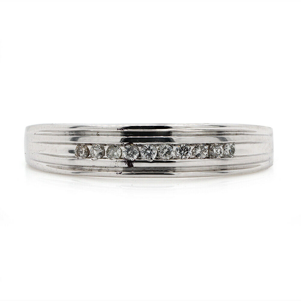 MENS DIAMOND WEDDING BAND White GOLD Anniversary Ring