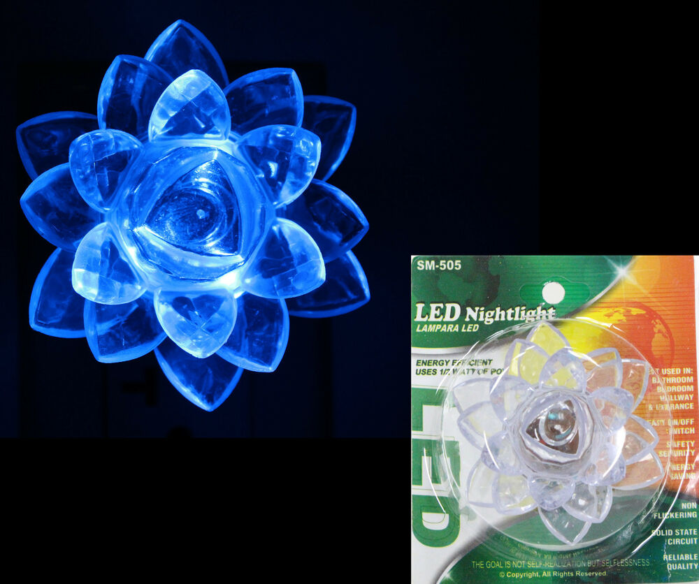 Blue night light led lamp plug in wall flower design cover on off switch ebay - Wall flower design ...