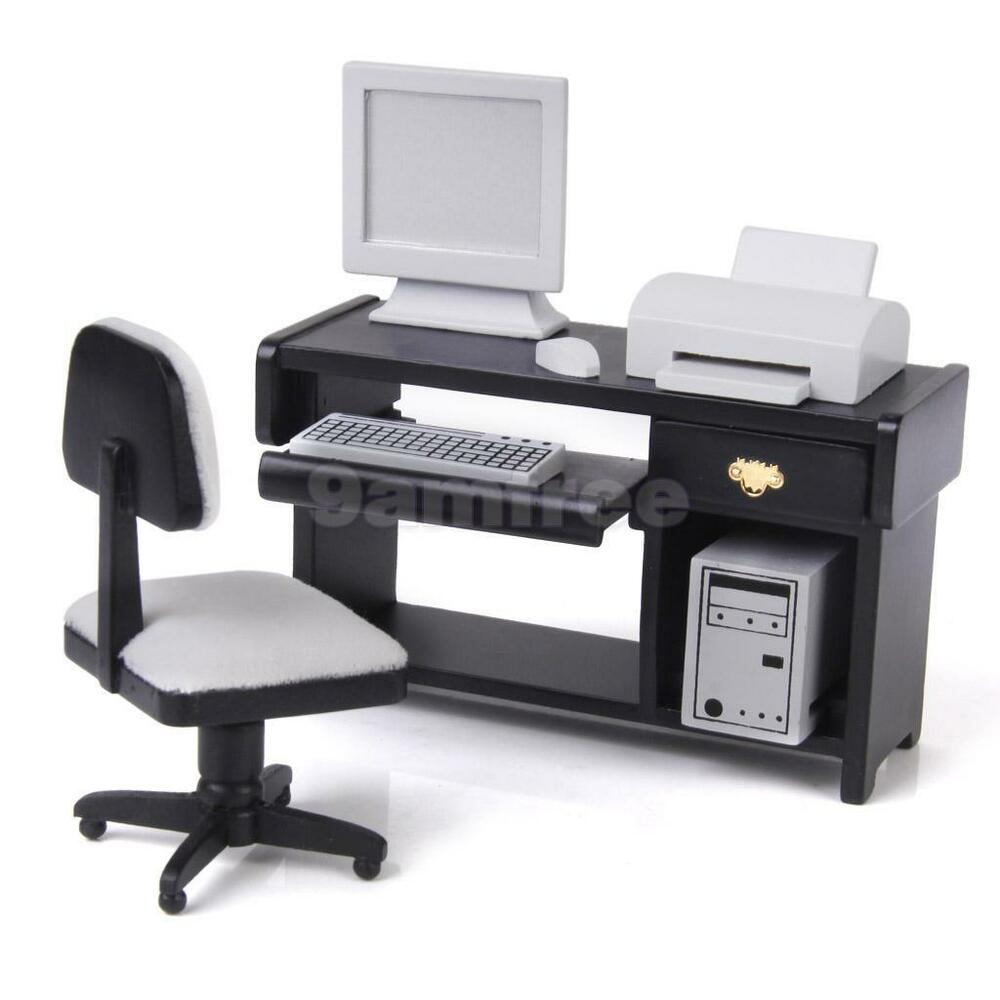 doll house miniature office furniture computer system set