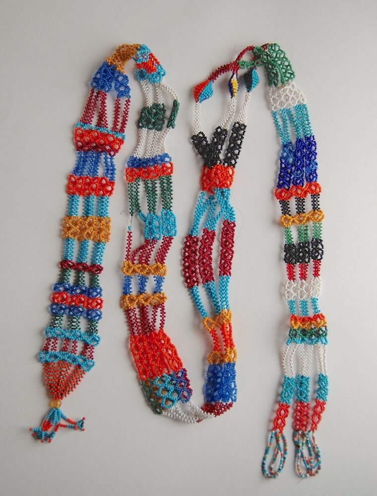 African Tribal Beaded Necklace Belt Antique Seed Beads