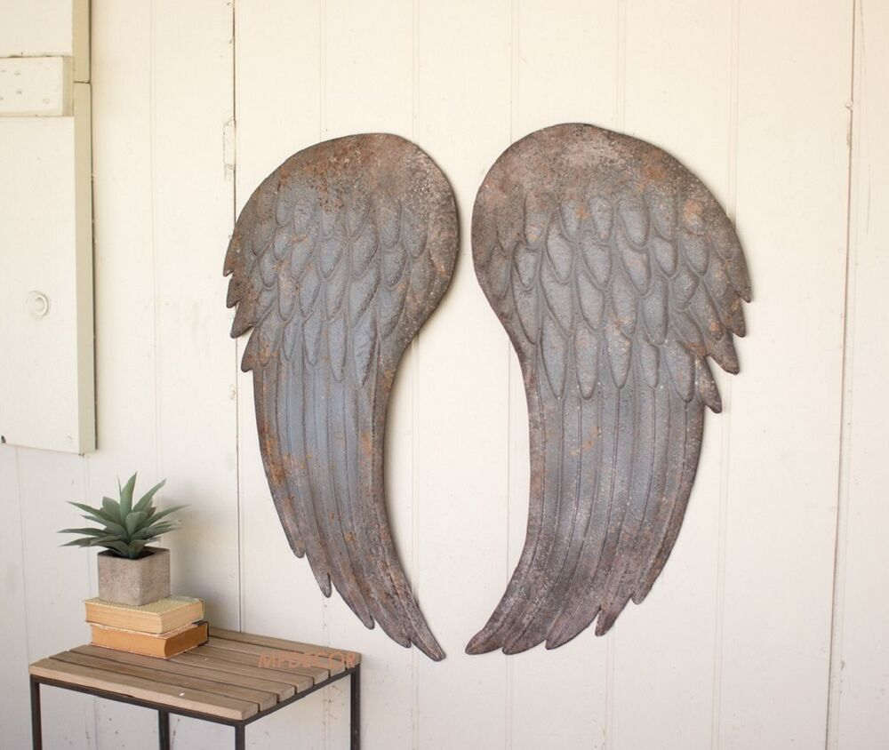 Large metal angel wings wall art decor shabby cottage chic for Angel wall decoration