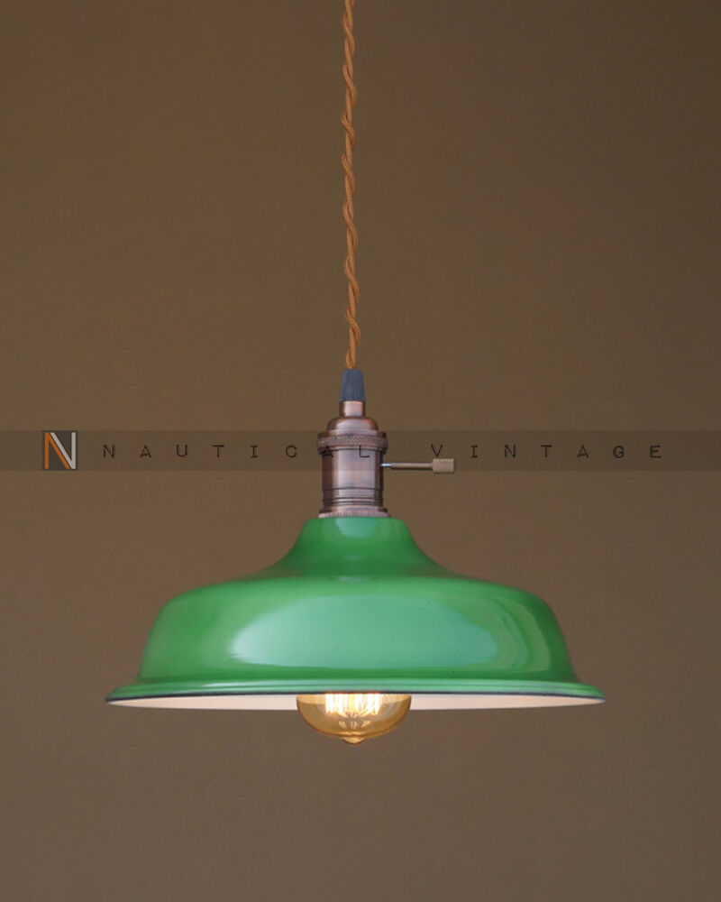 VINTAGE INDUSTRIAL ENAMEL GREEN PENDANT FACTORY LIGHT