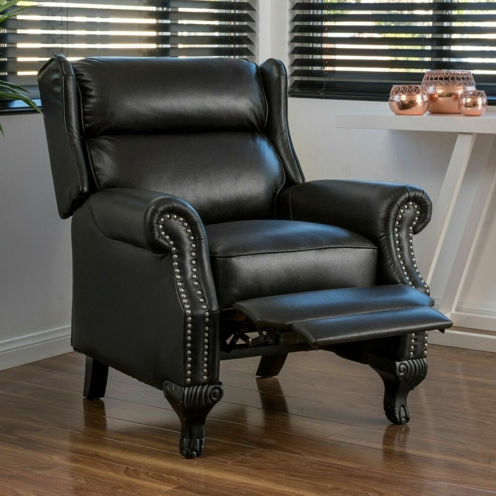 black leather club chair traditional black leather recliner club chair ebay 4730