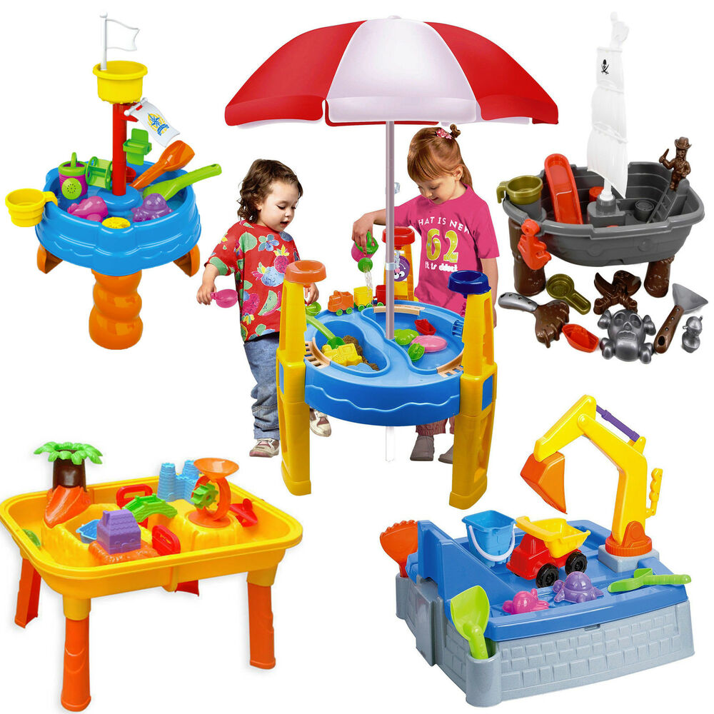 sand and water table garden sandpit play set toy with umbrella sand toys bucket ebay. Black Bedroom Furniture Sets. Home Design Ideas