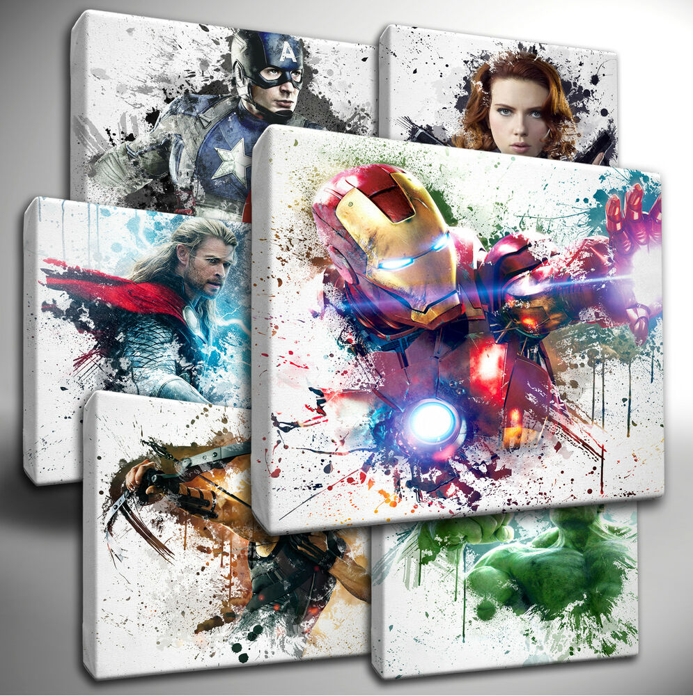 Choose Your Marvel Avengers Paint Splatter Canvas Wall Art Picture Ebay
