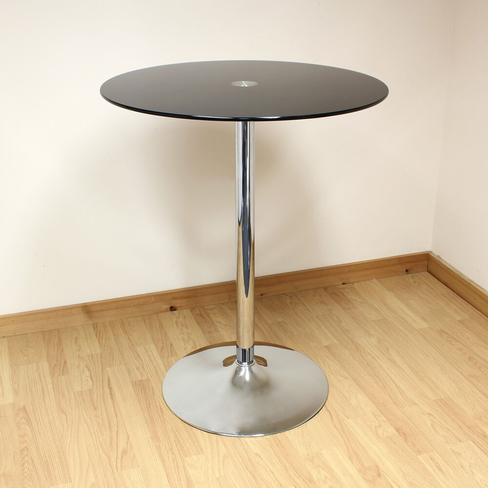 black chrome tall round glass bistro cafe style breakfast table ebay