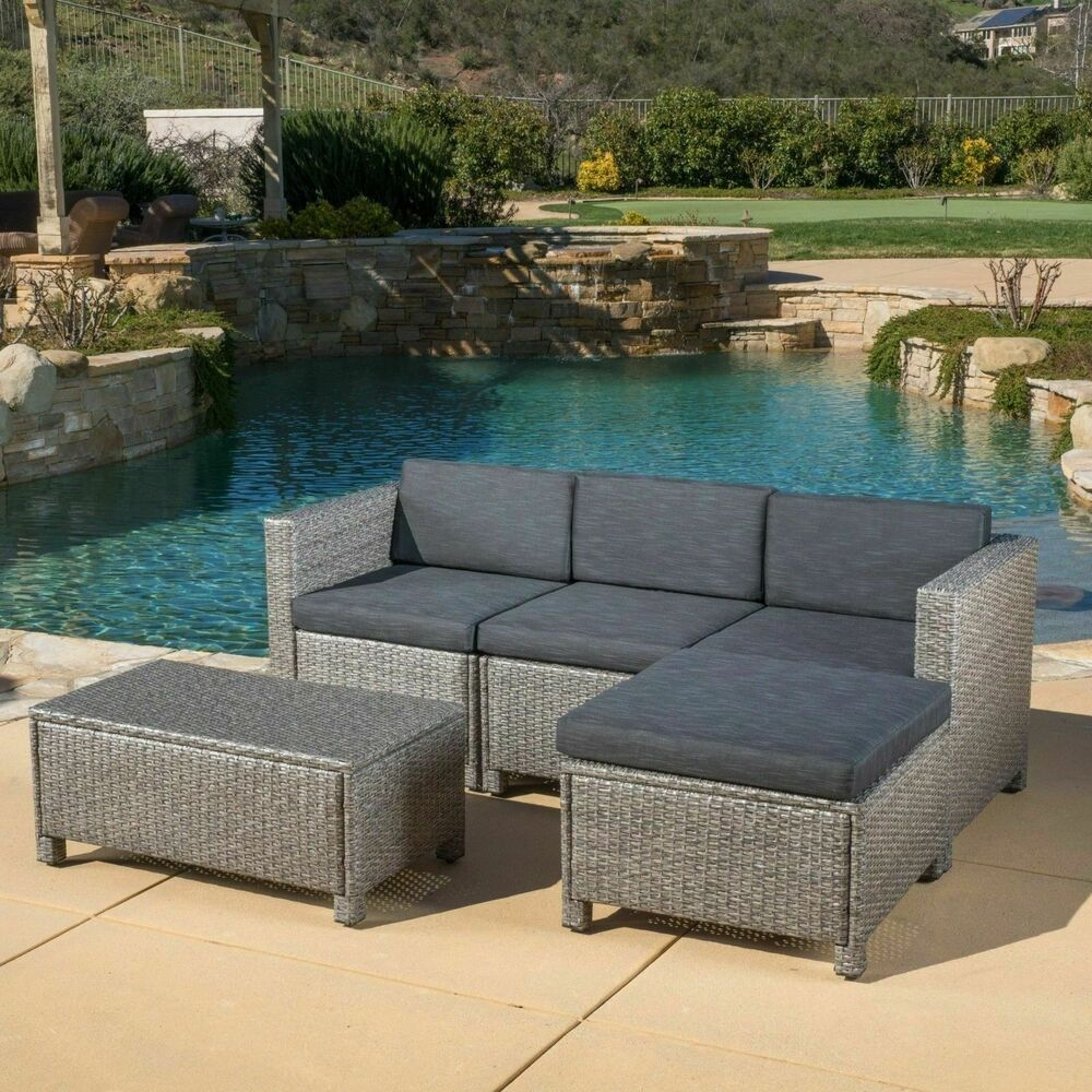 Outdoor 5 piece grey wicker sectional sofa set with black for Sectional sofa set up