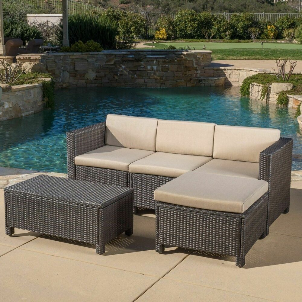 outdoor 5 piece dark brown wicker sectional sofa set with beige cushions ebay. Black Bedroom Furniture Sets. Home Design Ideas