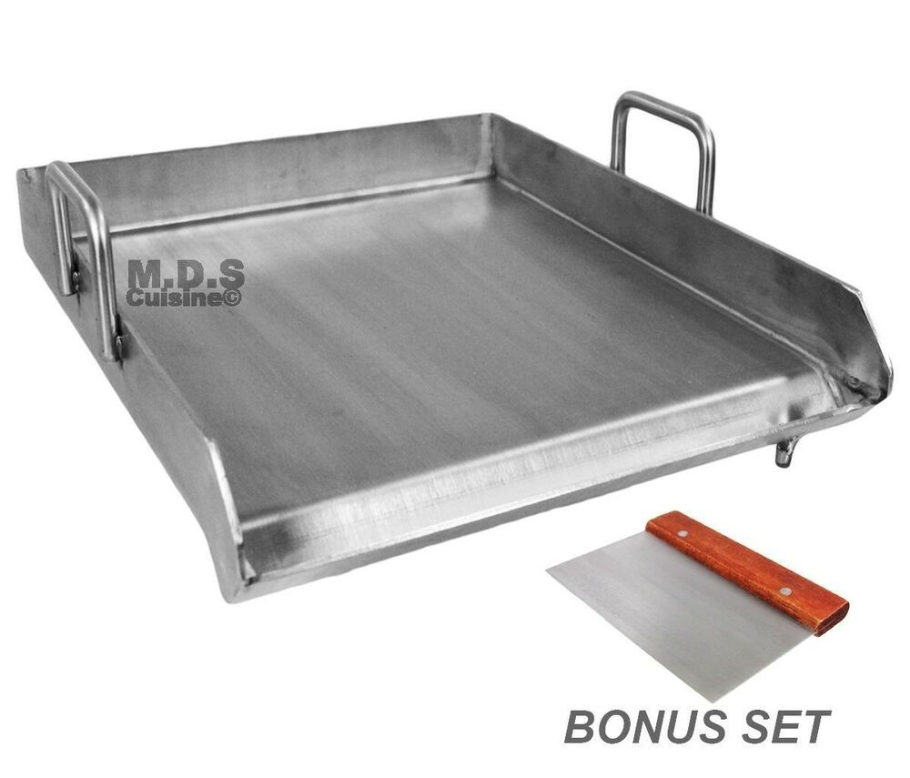stainless steel flat top comal plancha 18 x16 inch bbq. Black Bedroom Furniture Sets. Home Design Ideas