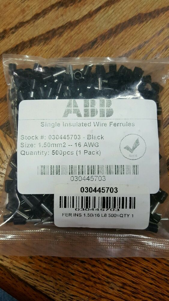 ABB SINGLE INSULATED WIRE FERRULES 030445703 1.50 mm 2 16 AWG 500 ...